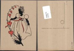 115770,Scherenschnitt Silhouette Mädchen M. Herz Kleid - Silhouettes