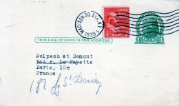 Entier Postau Des Etats-unis Pour La France (1939)
