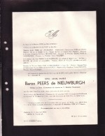 OOSTKAMP Eric Baron PEERS De NIEUWBURGH 1927-1954 Accident Zwijnaarde Docteur En Droit Parachutiste Doodsbrief PECSTEEN - Décès