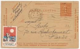 LPP6B-  FRANCE CL SEMEUSE IGNEE 50c OBLITEREE AVEC VIGNETTE DE BIENFAISANCE - Cartes-lettres