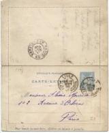 """LPP6B-  FRANCE CL SAGE 15c PIQUAGE """"C"""" CARTON BLANC GRIS DATE 823 LILLE / PARIS SEPTEMBRE 1898 - Cartes-lettres"""