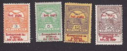 """Hungary, Scott #B20-B21, B24, B26, Mint Hinged, """"Turul"""" And Crown Of St Stephen Surcharged, Issued 1914 - Hungary"""