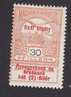 """Hungary, Scott #B28, Mint Hinged, """"Turul"""" And Crown Of St Stephen Surcharged, Issued 1914 - Hungary"""