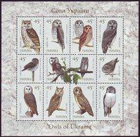 UKRAINE 2003. BIRDS. OWLS. Mini-sheet Of 12 Stamps. Mi-Nr. 574-85. Mint (**) - Uilen