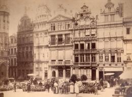 Originale Photo 19ème - Belgique - Bruxelles - (G H Phot)  MAISONS DES CORPORATIONS FLOWER MARKET CABINET PHOTO - Oud (voor 1900)