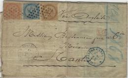 1868- Lettre De Basse Terre ( Guadeloupe ) Affr. Tricolore à 70 C  Voie Anglaise  Pour Nantes - Guadeloupe (1884-1947)