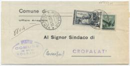 1951 LAVORO L. 5 + DEMOCRATICA L. 8 PIEGO CALOVETO (COSENZA) 17.8.51 TARIFFA SINDACI MISTA OTTIMA QUALITÀ (6816) - 6. 1946-.. Repubblica