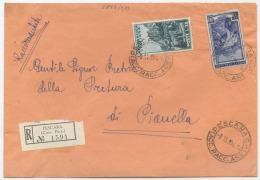 1953 CORTINA L. 25 + LAVORO  L. 55 BUSTA IN TARIFFA LETTERA RACCOMANDATA 3.11.54 OTTIMA QUALITÀ (6815) - 1946-60: Storia Postale