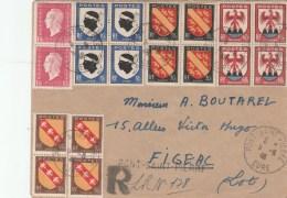 BLASONS 4 BLOC DE 4 +DULAC 1F50X2 SUR LR PROVISOIRE AU TARIF PONT SAINT PIERRE 9/8/46 POUR FIGEAC                 TDA120 - 1921-1960: Modern Period