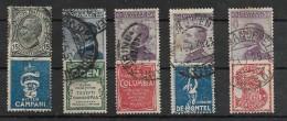 Francobolli Pubblicitari Vittorio Emanuele III  Numero Cinque Pezzi Obliterati(vedi Il Retro) - 1900-44 Vittorio Emanuele III