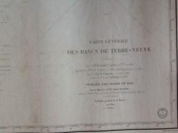 Carte Générale Des Bancs De Terre Neuve Levée Par C.F.Lavaud Capitaine De Corvette En 1839 - Nautical Charts