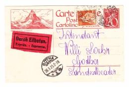 Schweiz Ganzsache Zu#104.031 Zermatt 25.3.1925 Schaffhausen Gesendet Nach Gotha D - Entiers Postaux