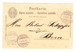 Schweiz Ganzsache 5Rp Mit Privatzudruck Rückseite Restaurant Bierhalle Zum Kropf Zürich 3.5.1893 Nach Bern - Enteros Postales