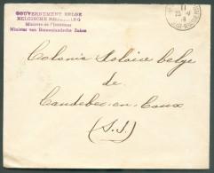 LE HAVRE Sainte ADRESSE - Enveloppe Obl. Sc Ste-ADRESSE (Poste Belge)  Du 25-V-1916 + Griffe Violette Bilingue GOUVERNEM - Weltkrieg 1914-18