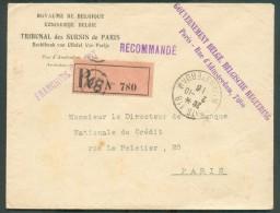 LE HAVRE Sainte ADRESSE - Enveloppe Recommandée Expédiée De PARIS 118 R. AMsterdam Le 2-10-1916 Avec Griffe Violette GOU - Guerre 14-18
