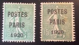 """SIGNÉ SCHELLER: Préoblitéré 15c Semeuse Lignée """"POSTES PARIS 1920"""" (*) B-TB, YV. 25 PAPIER GC + NORMAL (France) - Precancels"""