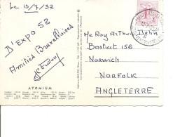 Exposition De Bruxelles -1958( CP De 1958 Vers La Grande-Bretagne Avec Cachet De L'expo à Voir)