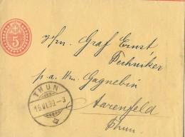 THUN → Ganzsache / Streifband Thun 19.06.1899 Nach Aarenfeld Bei Thun ► Bitte Anrede In Der Adresse Beachten - Entiers Postaux