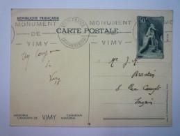 Mémorial  CANADIEN De  VIMY  1936  (N°7) - Entiers Postaux