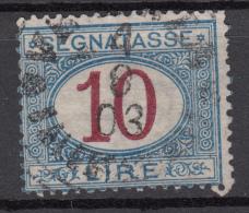 Regno D'Italia - 1890 Segnatasse (usato) 10 Lire Azzurro E Carminio Sass. 28 - 1878-00 Humbert I.