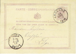 Entier Postal Lion Couché ANDENNE 1876 Vers LIEGE  Signé Vve RAMELOT Libraire - Enteros Postales