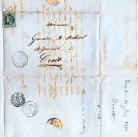 Lettre 1870  De Toulon/mer  à Crest  -Timbre Empire Français 20c -Tampons Toulon/mer ,Livron ,Marseille à Lyon Et Crest - 1849-1876: Période Classique