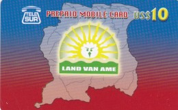 Surinam, $10, Tele-G, Land Van Ame, Map, 2 Scans.