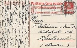LUGANO → Postkarte  Nach Karlsruhe 1924 ►mit Gamnsache SBK 155◄ - Entiers Postaux