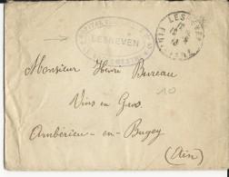 1916 - ENVELOPPE De L´HOPITAL TEMPORAIRE N° 45 à LESNEVEN (FINISTERE) Pour AMBERIEU - Guerra Del 1914-18