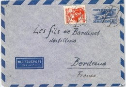 LPP6B-  AUTRICHE EP ENVELOPPE AVION WIEN / BORDEAUX 9/11/1949 - Ganzsachen