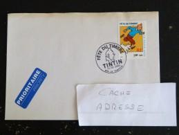 LE TAMPON - REUNION - CACHET ROND MANUEL FETE DU TIMBRE TINTIN SUR YT 3303 - Marcophilie (Lettres)