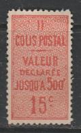 FRANCE COLIS POSTAL N°30 15C VERMILLON VALEUR DECLAREE NEUF SANS GOMME - Colis Postaux