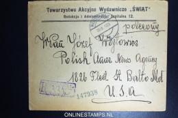 Poland Registered Cover 1923 Warschau To USA - 1919-1939 Republik