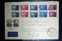 Poland Registered   Cover 1949 Niepolumice  To  USA Mixed Stamps - 1944-.... Republik