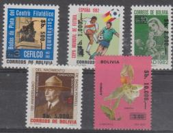BOLIVIA - 1984 Surcharged Set Of Four. Scott 700-704. MNH ** Soccer, Scouts, Lord Baden Powell - Bolivia