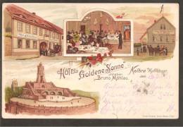 """Kelbra. Hotel """"Goldene Sonne"""" Inh. Bruno Möhlau. Litho. Bahnpost Stempel - Kyffhaeuser"""