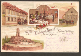 "Kelbra. Hotel ""Goldene Sonne"" Inh. Bruno Möhlau. Litho. Bahnpost Stempel - Kyffhäuser"