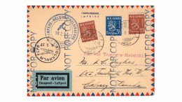 Finland First Flight Card Tampere-Helsinki 4.5.37 - Brieven En Documenten