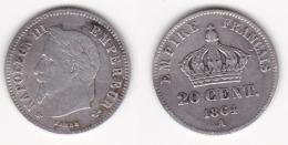 20 CENTIMES - NAPOLEON III 1864 A (voir Scan) 1 - E. 20 Centesimi
