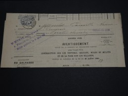 FRANCE – Type Blanc Sur Avertissement Des Contributions Directes - Détaillons Collection - A Voir - N° 17560 - 1900-29 Blanc