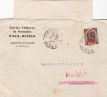 """ENVELOPPE ET COURRIER  1951 SOCIÉTÉ INDIGÈNE DE PRÉVOYANCE D""""AÏN-BESSEM  /  1927 - Algerije (1924-1962)"""