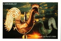 Carte Postale (51)  CHOUILLY  -  Remplacement Du Coq Communal   Le Jeudi 22 Avril 1999 - France