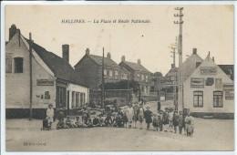 Hallines-La Place Et Route Nationale-(CPA) - Other Municipalities
