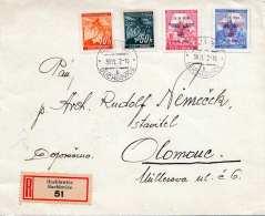 BÖHMEN Und MÄHREN 1916 - Seltene 4 Fach Frankatur Teilw.m.Überdruck Auf RECO-Brief Gel.v. Buchlovice > Olomouc - Böhmen Und Mähren