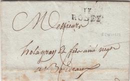 1823. LETTRE . AVEYRON REQUISTA. MP 11/RODEZ.  DELMAS   POUR  BORDEAUX / 1911 - Poststempel (Briefe)