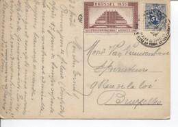TP Lion Héraldique + Vignette De L'Expo Bruxelles 1935 C.Touristique De Panne S/CP La Panne V.Bruxelles AP938 - 1935 – Brüssel (Belgien)
