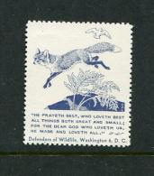 Fox & Dove Defenders Of Wildlife Reklamemarke Poster Stamp Vignette Never Hinged 1 3/8 X 1 5/8 - Cinderellas