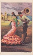 POSTAL DE UNA SEVILLANA BAILANDO (SEVILLA-BAILE-ANDALUCIA) FARRUCA-CADIZ (PABLO DÜMMATZEN) - Bailes