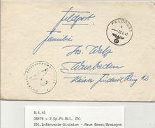 WW2 - Lettre Du FELDPOSTNUMMER 38476 - BREST (Finistère) Pour WEISBADEN (Allemagne) -1941 =- - Postmark Collection (Covers)