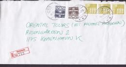 Denmark Registered Einschreiben Label HIRTSHALS 1995 Cover Brief 3-Stripe Lion Arms Löwe Wappen - Dänemark